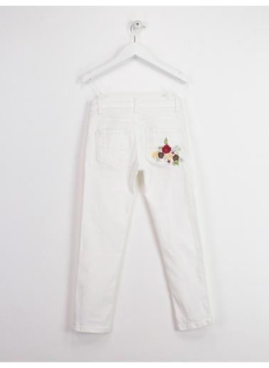 Asymmetry Nakışlı Jean Pantolon Beyaz